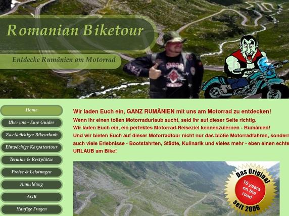 Screenshot von www.romanian-biketour.at